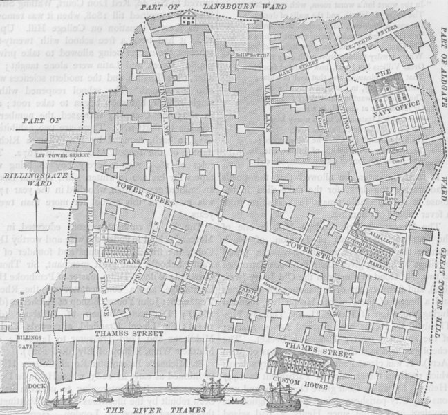 Associate Product UPPER THAMES STREET. Tower Street Ward (from a map made for Stow's survey) c1880