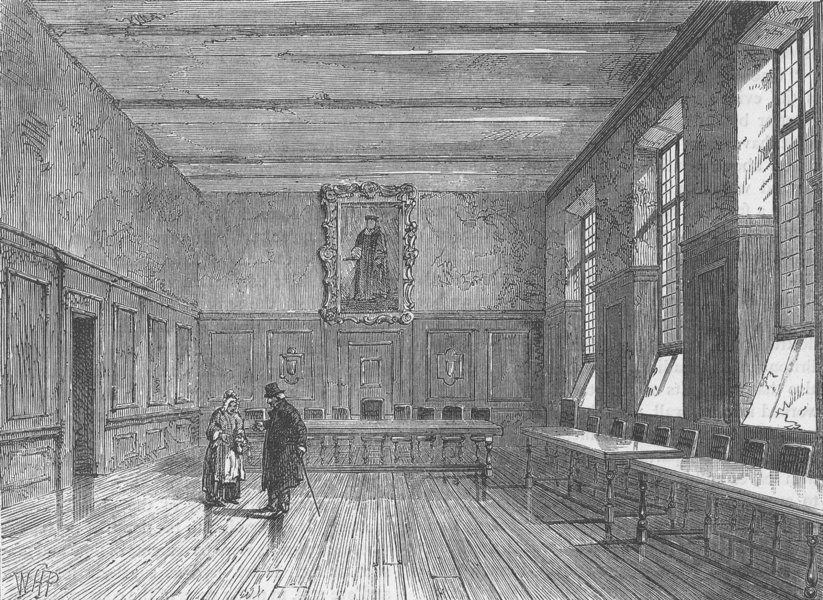 Associate Product UPPER THAMES STREET. Chapel of merchant Taylors' School (1874). London c1880