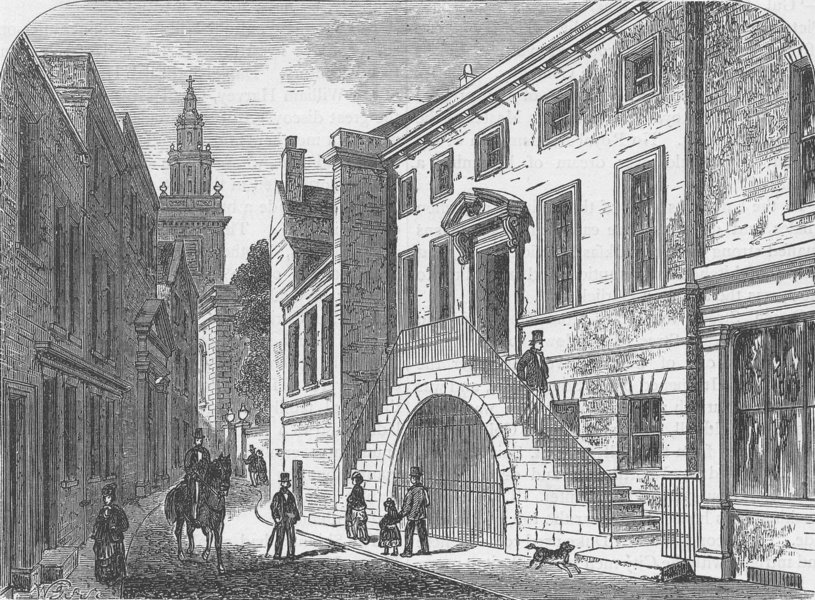 Associate Product UPPER THAMES STREET. Dyers' Hall (1850). London c1880 old antique print