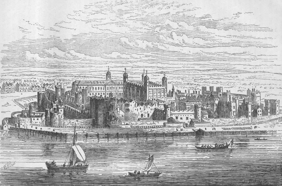 Associate Product THE TOWER OF LONDON. The Tower of London, c1700 c1880 old antique print