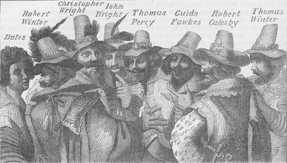 Associate Product THE TOWER OF LONDON. Guy Fawkes and the conspirators c1880 old antique print