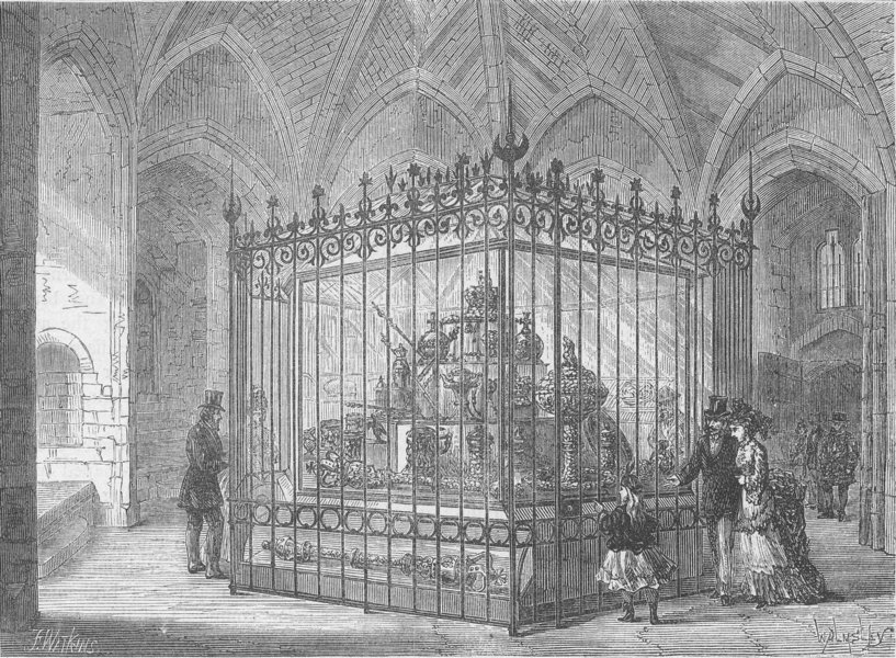 Associate Product THE TOWER OF LONDON. The Jewel room at the Tower c1880 old antique print