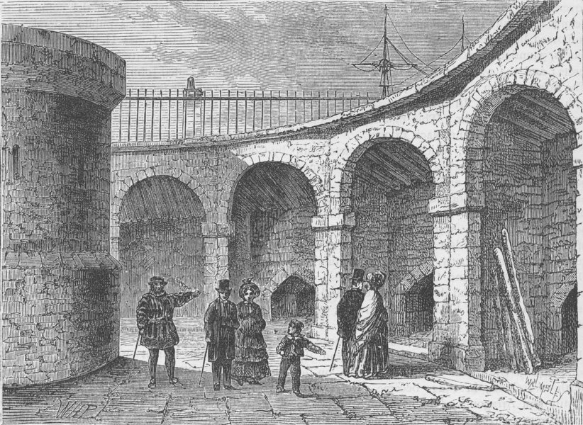 Associate Product THE TOWER OF LONDON. The Tower Menagerie about 1820 c1880 old antique print
