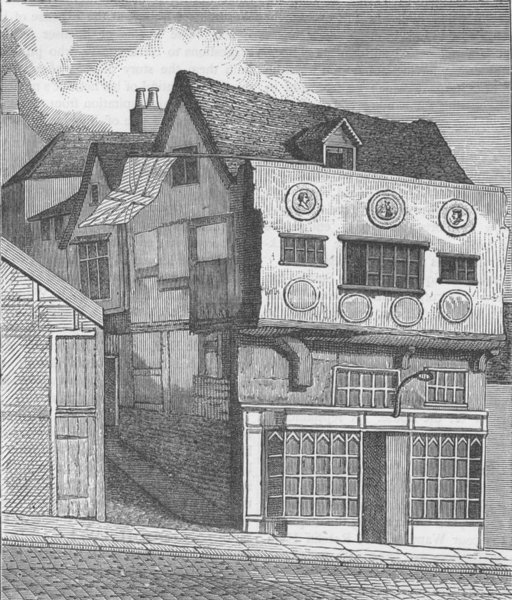 Associate Product CITY OF LONDON. An old House on Little Tower hill (Smith 1792) c1880 print