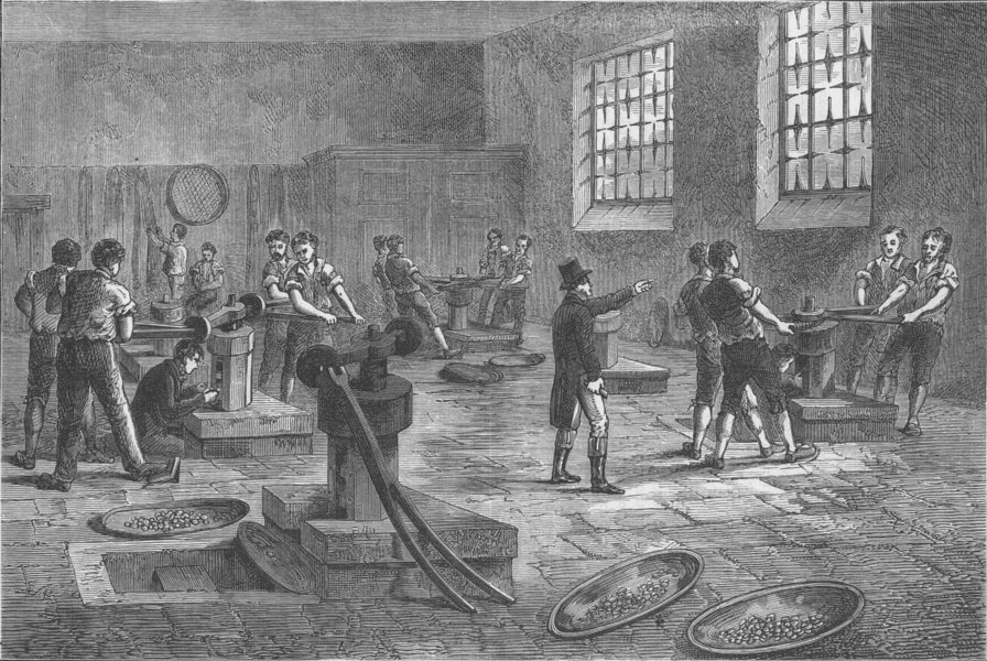 Associate Product THE ROYAL MINT. Interior of the Mint, c 1820 c1880 old antique print picture