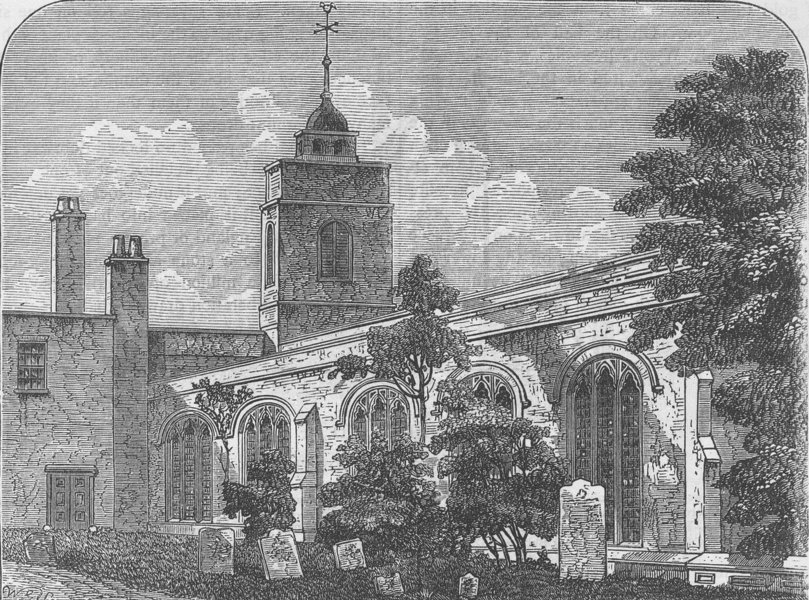 Associate Product CITY OF LONDON. The church of Allhallows-by-the-Tower (Barking), in 1750 c1880