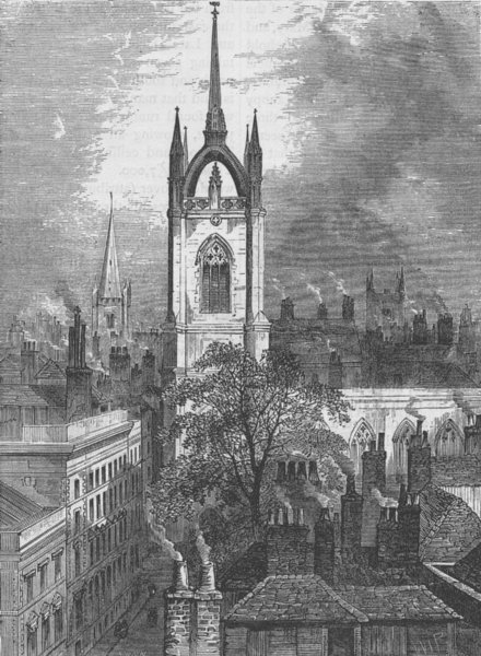 Associate Product WREN CHURCHES. St.Dunstan's-in-the-East. London c1880 old antique print