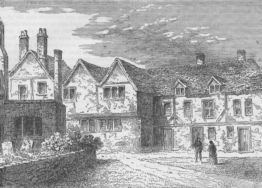 Associate Product ST. KATHARINE'S HOSPITAL. The brothers' Houses in 1781. London c1880 old print