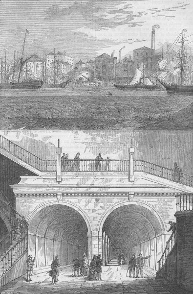 Associate Product LONDON DOCKS. The Thames tunnel as it was when originally opened c1880 print