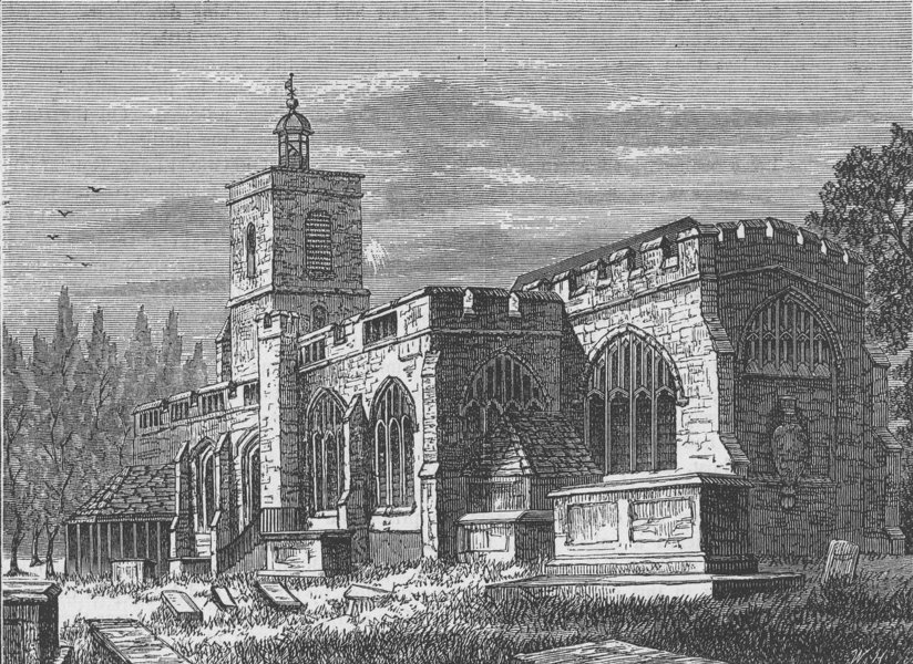 Associate Product STEPNEY. St. Dunstan's church, in 1803. London c1880 old antique print picture
