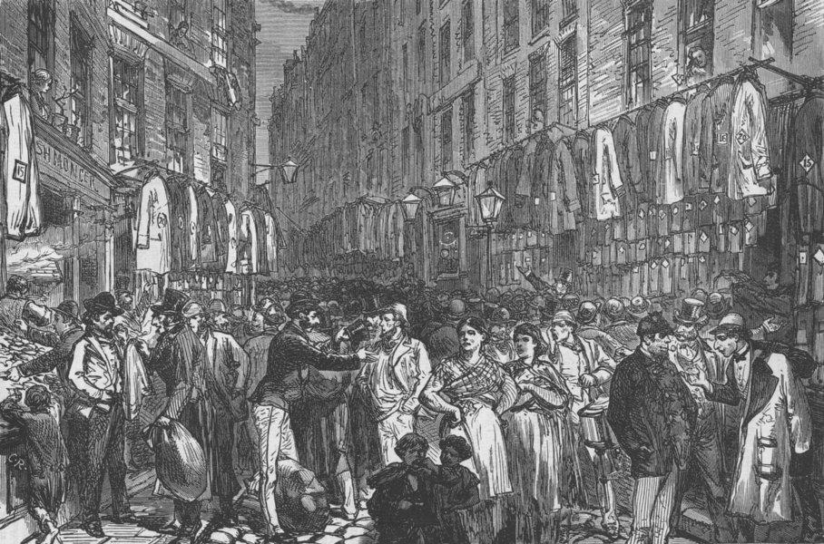 STEPNEY. Petticoat Lane. London c1880 old antique vintage print picture