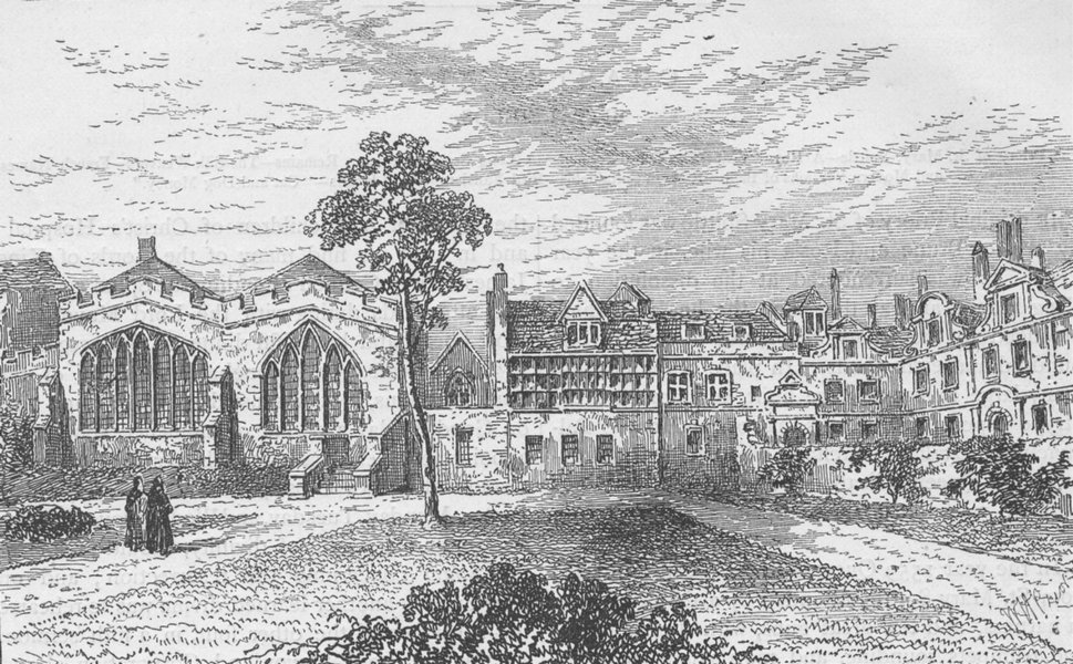 Associate Product SPITALFIELDS. St. Helen's Priory & Leathersellers' Hall (Malcolm, 1799) c1880