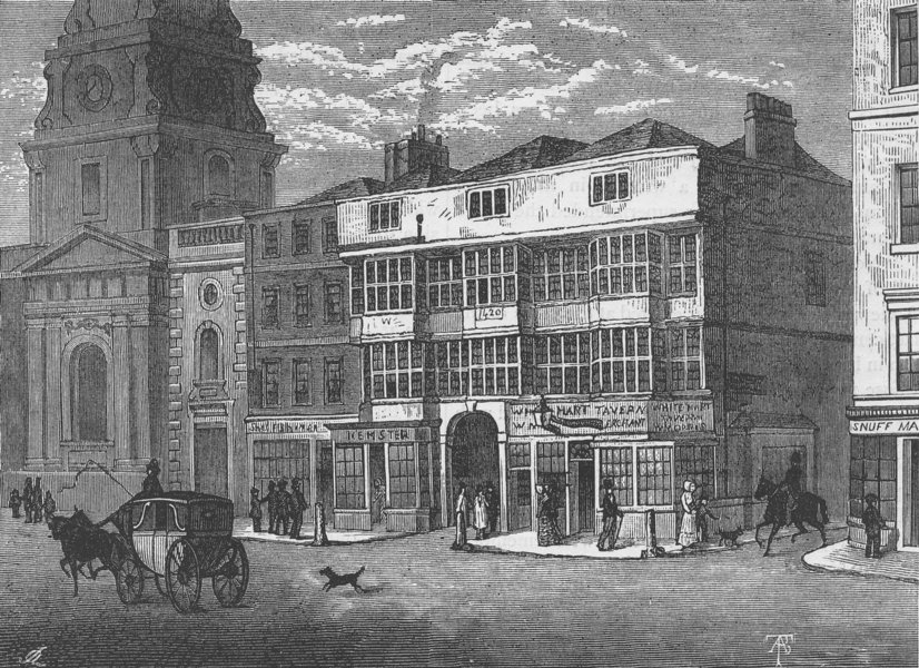 "Associate Product BISHOPSGATE. The ""White hart,"" Bishopsgate Street, in 1810. London c1880 print"
