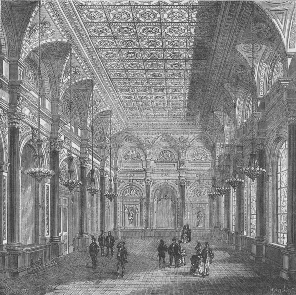 Associate Product CITY OF LONDON. Interior of clothworkers' Hall c1880 old antique print picture