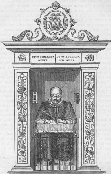 Associate Product LEADENHALL STREET. Stow's monument in St.Andrew Undershaft. London c1880 print