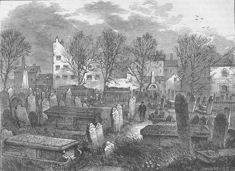 Associate Product FINSBURY. Bunhill fields burial-ground. London c1880 old antique print picture