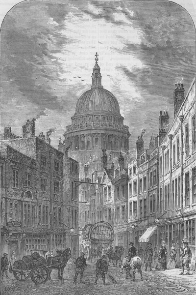 Associate Product CITY OF LONDON. St. Martin's-le-Grand in 1760 c1880 old antique print picture