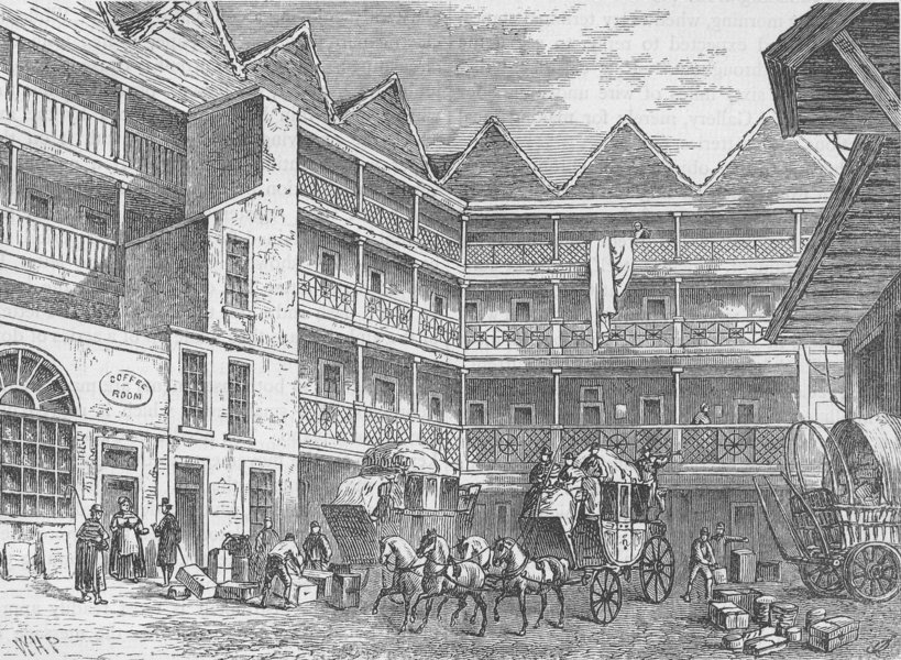 """Associate Product ST.MARTIN'S-LE-GRAND The Yard of the """"Bull and Mouth"""", about 1820. London c1880"""