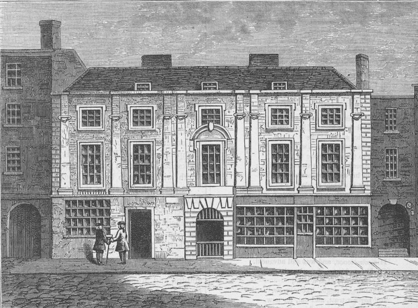 ALDERSGATE STREET. Shaftesbury House in 1810. London c1880 old antique print