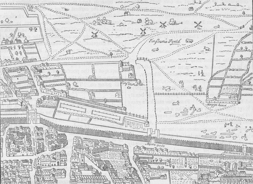 Associate Product CRIPPLEGATE. Cripplegate and neighbourhood (from Aggas's map). London c1880