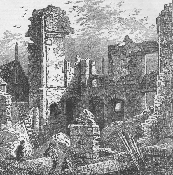 Associate Product MINORIES. Ruins of the convent of St.Clare in 1797. London c1880 old print