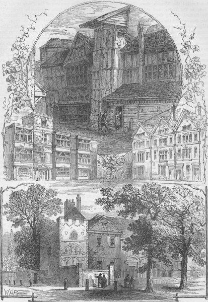 Associate Product CITY OF LONDON HOUSES. Whittington Grub Street. General Monk. Bloomfield c1880