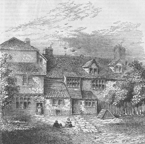 Associate Product ISLINGTON. Sir Walter Raleigh's House. London c1880 old antique print picture