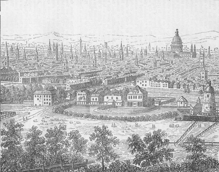 Associate Product LONDON View from Islington in 1753 of the City & East End after Canaletto c1880