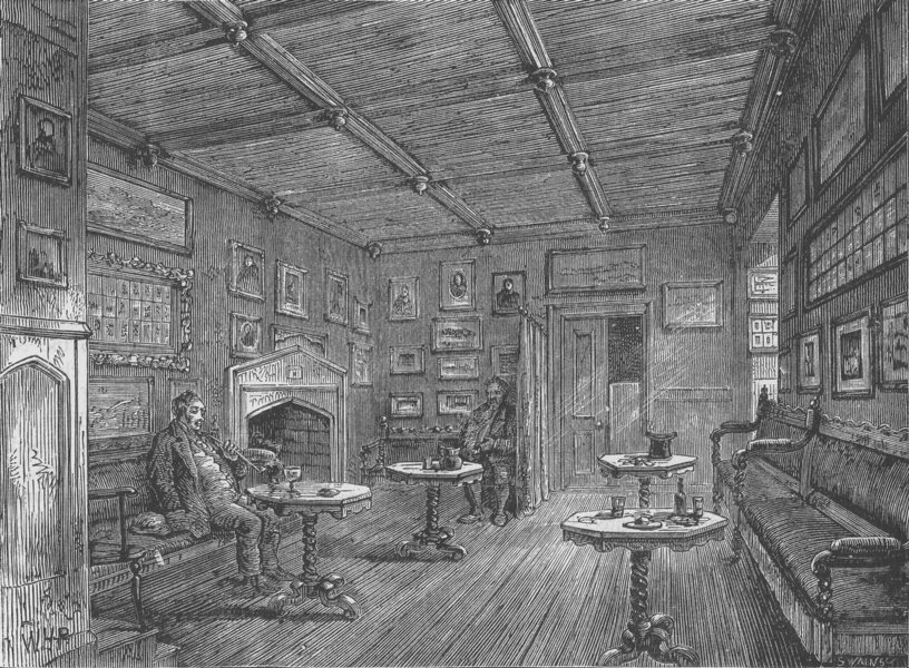 Associate Product CLERKENWELL. Coffee-room at St.John's Gate. London c1880 old antique print