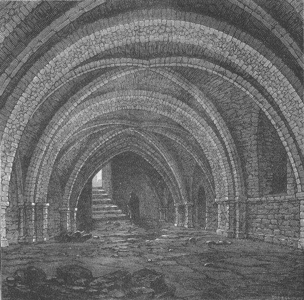 Associate Product CLERKENWELL. The crypt of St.John's, Clerkenwell. London c1880 old print