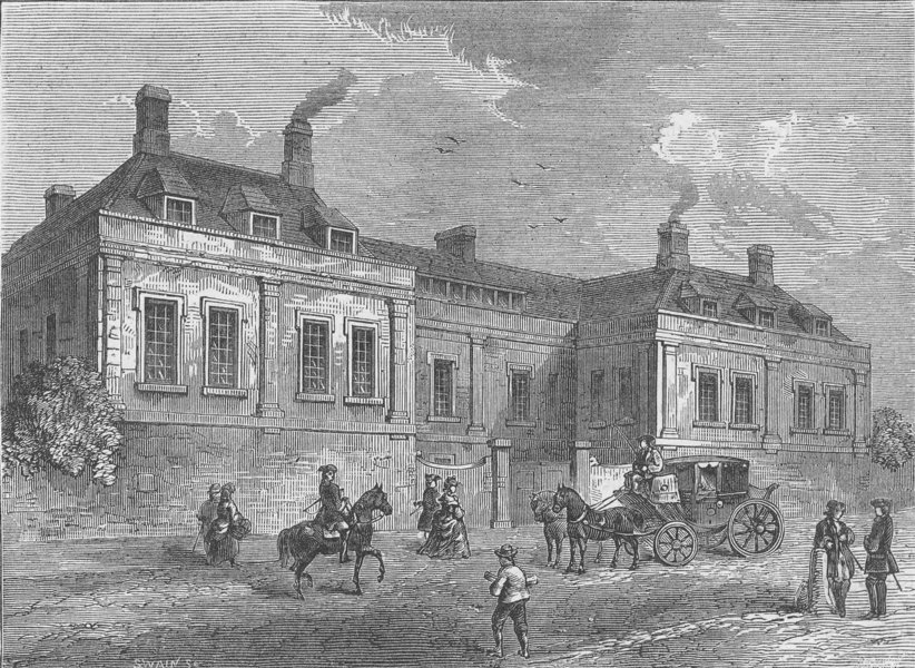 Associate Product CLERKENWELL. Newcastle House (1770). London c1880 old antique print picture