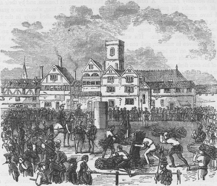 Associate Product SMITHFIELD. Place of execution in Old Smithfield. London c1880 print