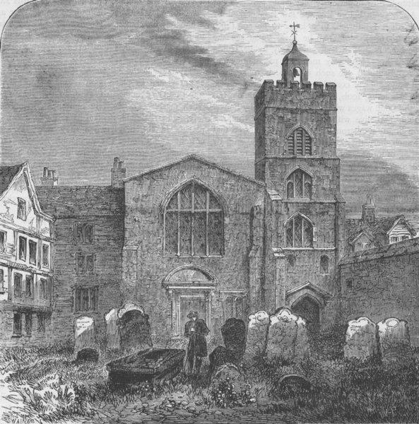 Associate Product SMITHFIELD. The church of St.Bartholomew-the-great, 1737. London c1880 print