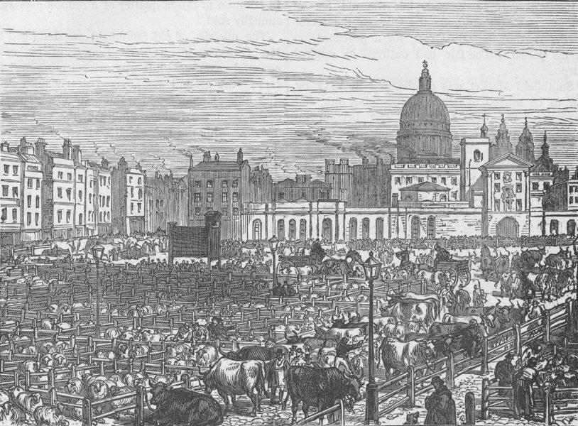 Associate Product SMITHFIELD. Old Smithfield Market (1837). London c1880 antique print