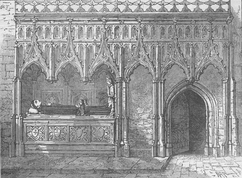 Associate Product ST BARTHOLOMEW-THE-GREAT. Rayer's (Rahere's) tomb. London c1880 old print