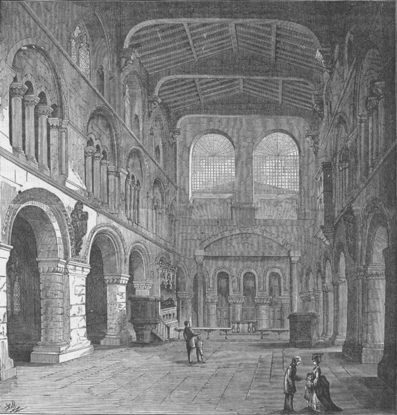 Associate Product ST.BARTHOLOMEW-THE-GREAT. Church interior in 1868 c1880 old antique print