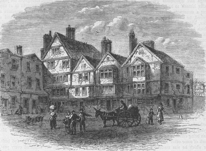 Associate Product ST.BARTHOLOMEW'S HOSPITAL. Pie corner in 1789. London c1880 old antique print
