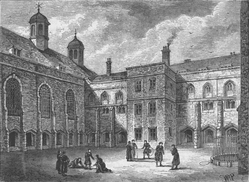 Associate Product CHRIST'S HOSPITAL. The cloisters, Christ's Hospital in 1804 c1880 old print