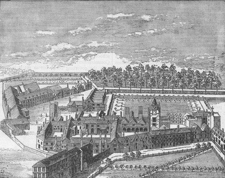 CHRIST'S HOSPITAL. Bird's-eye view of the old Charterhouse. London c1880 print