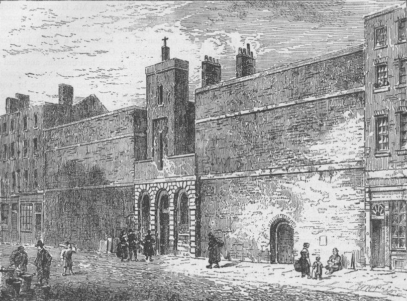 Associate Product THE CHARTERHOUSE. Street front of the Fleet prison. London c1880 old print