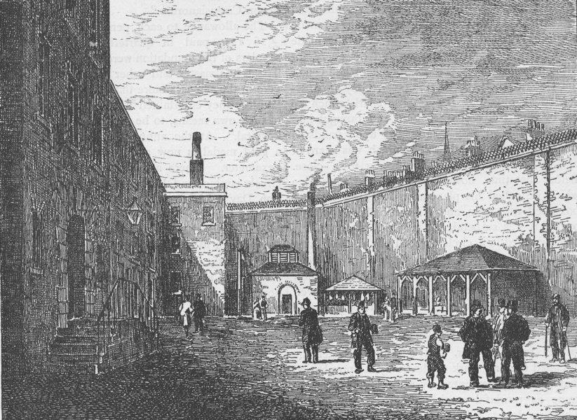 Associate Product THE CHARTERHOUSE. Courtyard in the Fleet prison. London c1880 old print
