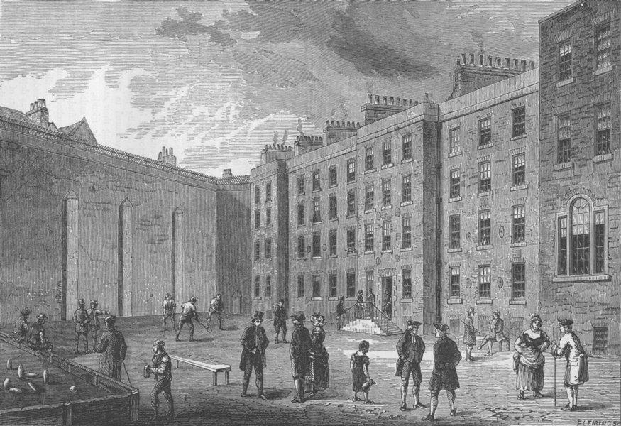 Associate Product THE CHARTERHOUSE. Interior of the Fleet prison-the racket Court. London c1880
