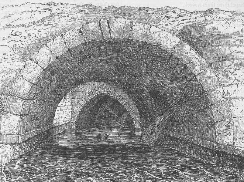 Associate Product OLD HOLBORN BRIDGE. View during the alterations in 1844. London c1880 print