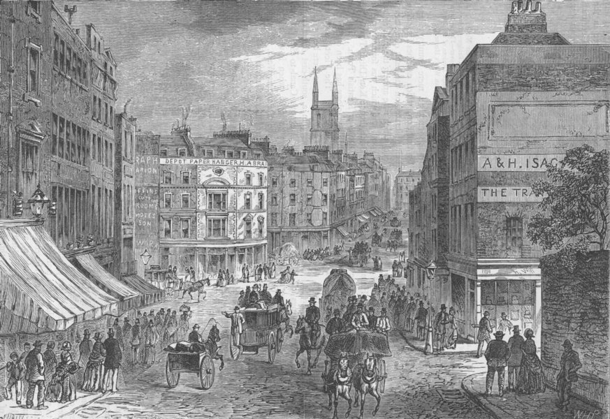 Associate Product HOLBORN. Holborn Valley & Snow Hill before the viaduct. London c1880 old print