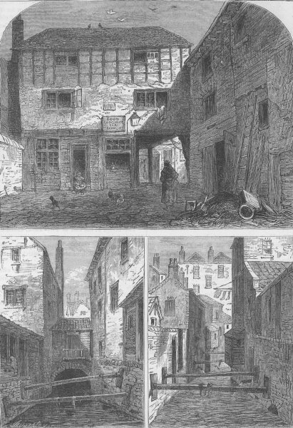 """Associate Product ST PAUL'S. The old """"Red Lion"""" & the Fleet ditch. London c1880 print"""