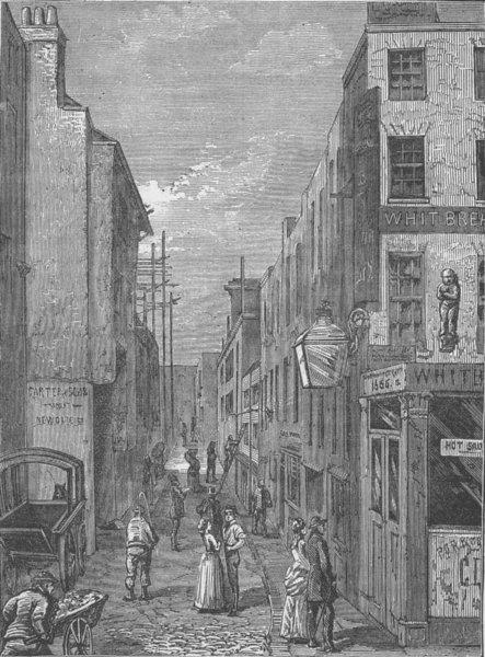 Associate Product NEWGATE STREET. Cock Lane. London c1880 old antique vintage print picture