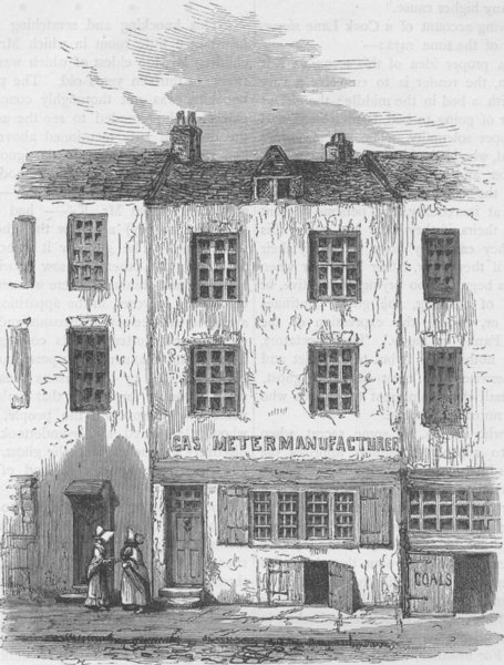 """Associate Product NEWGATE STREET. The """"Ghost's"""" House in cock Lane. London c1880 old print"""