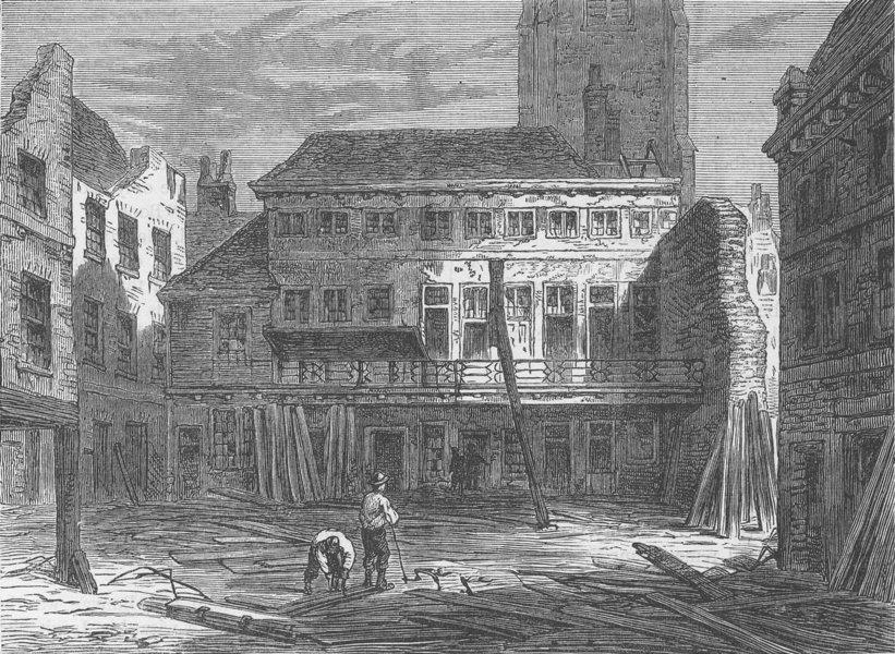 "Associate Product NEWGATE STREET. The ""Saracen's head,"" Snow Hill, during its demolition c1880"