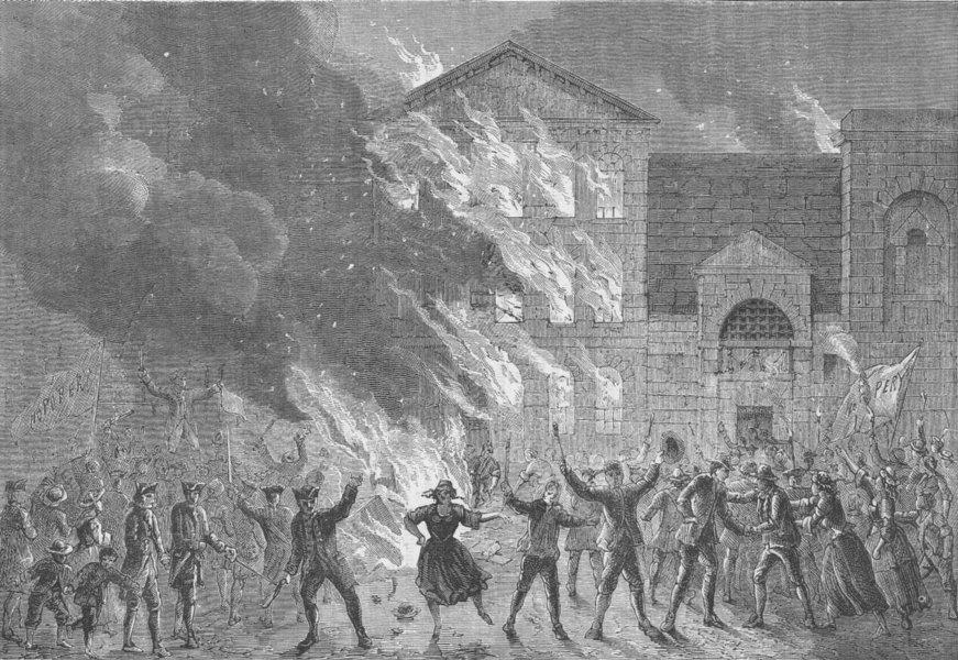 Associate Product NEWGATE PRISON. Burning of Newgate. London c1880 old antique print picture
