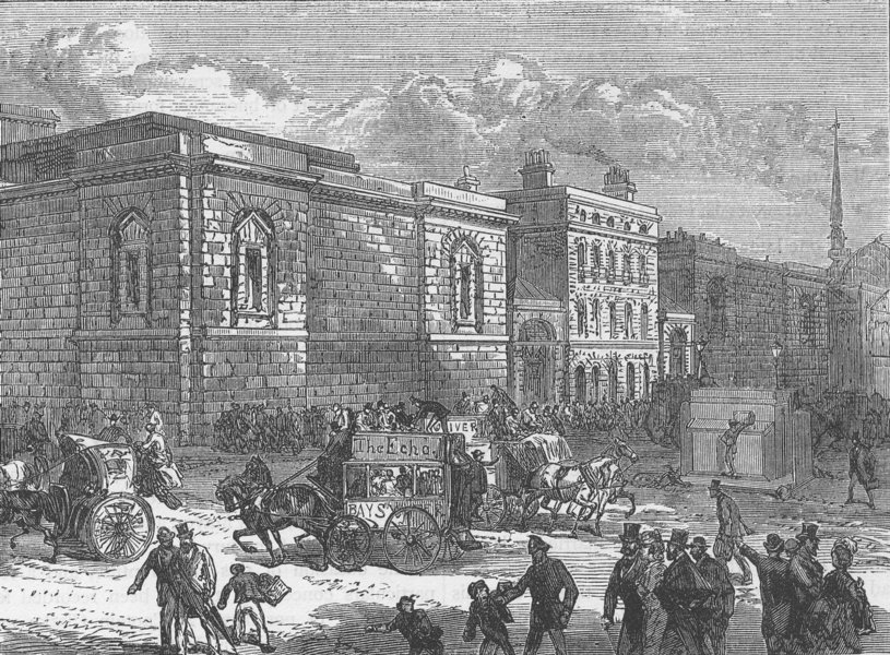 Associate Product THE OLD BAILEY. Front of Newgate from the Old Bailey. London c1880 print